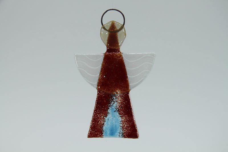 Glasengel Engel klein dunkelrot blau 1