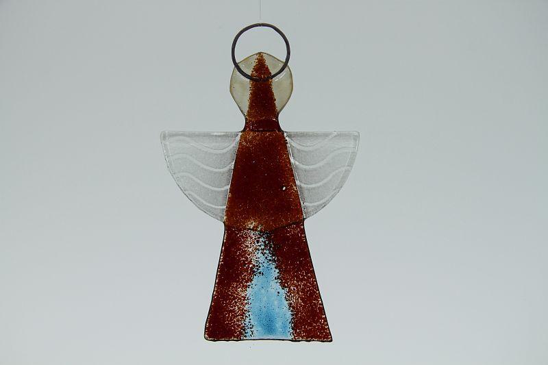 Glasengel Engel klein dunkelrot blau 2