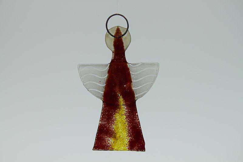 Glasengel Engel klein dunkelrot gelb 2