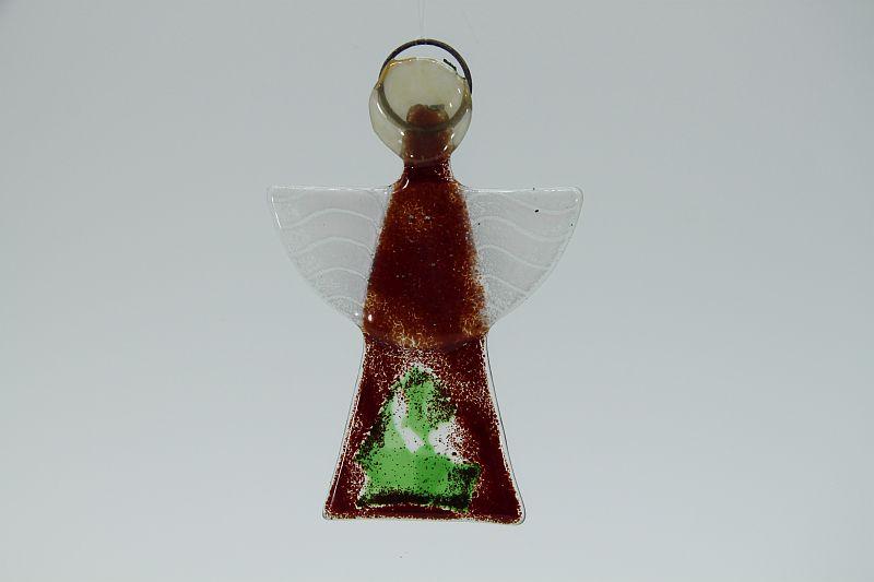 Glasengel Engel klein dunkelrot grün 1