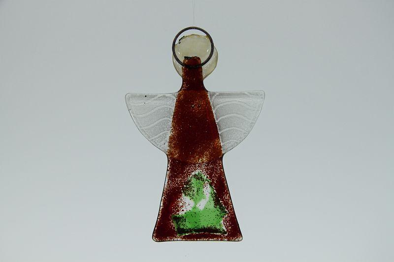 Glasengel Engel klein dunkelrot grün 2