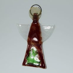 Glasengel Engel klein dunkelrot grün 3