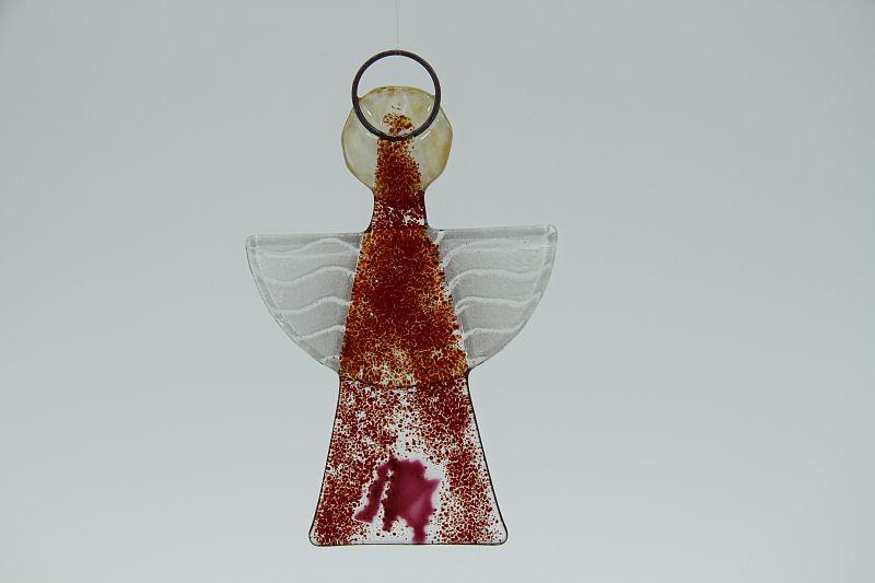 Glasengel Engel klein dunkelrot rose 2