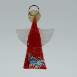 Glasengel Engel klein hellrot blau Plättchen 1