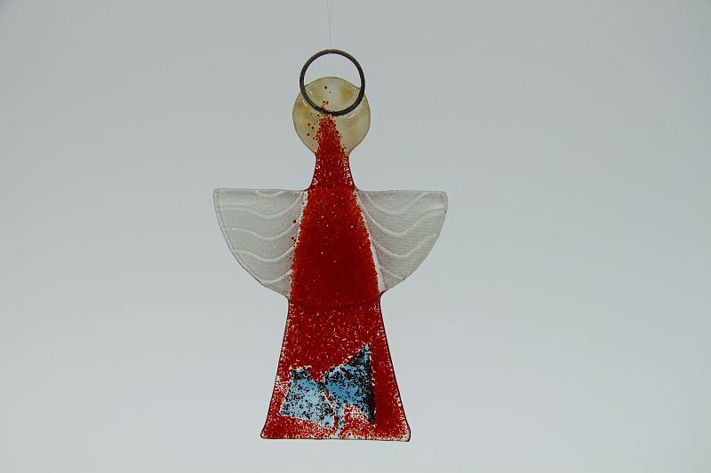 Glasengel Engel klein hellrot blau Plättchen 2