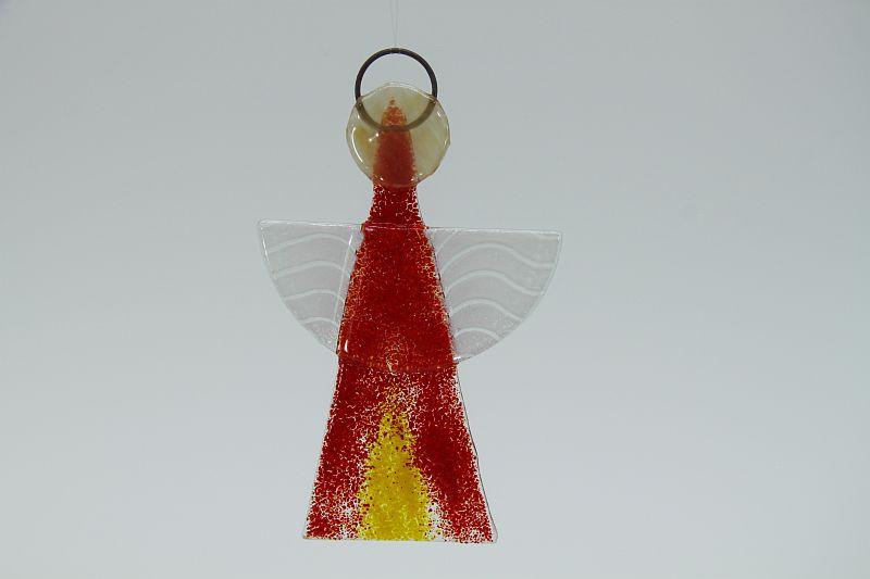 Glasengel Engel klein hellrot gelb 1