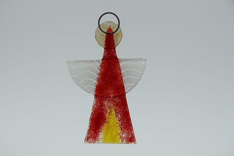 Glasengel Engel klein hellrot gelb 2