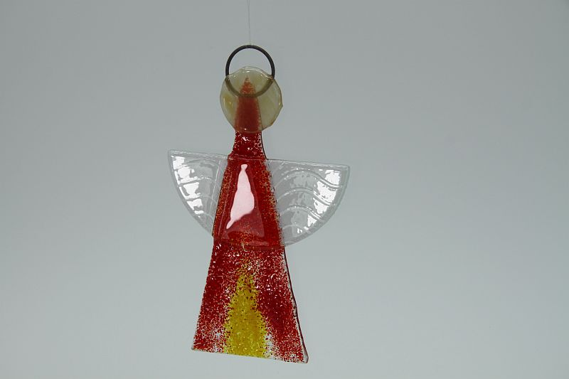 Glasengel Engel klein hellrot gelb 3