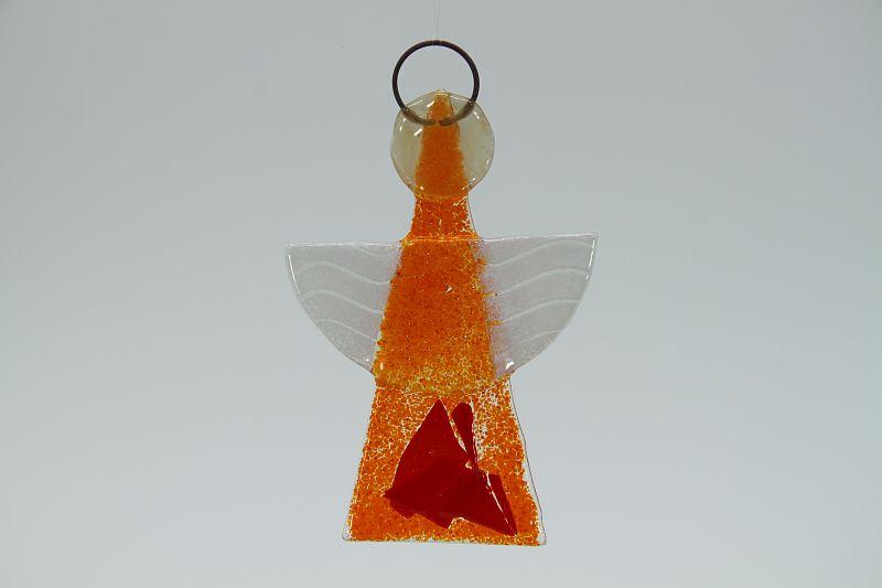 Glasengel Engel klein orange rot 1