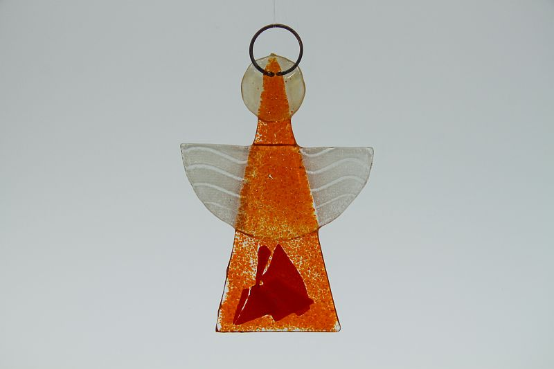 Glasengel Engel klein orange rot 2
