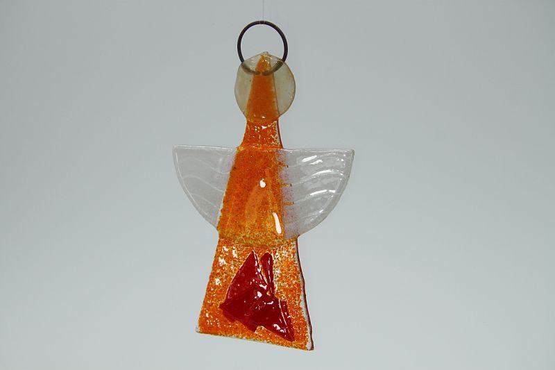 Glasengel Engel klein orange rot 3