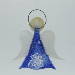 Glasengel Engel mittel Kristall blau 1