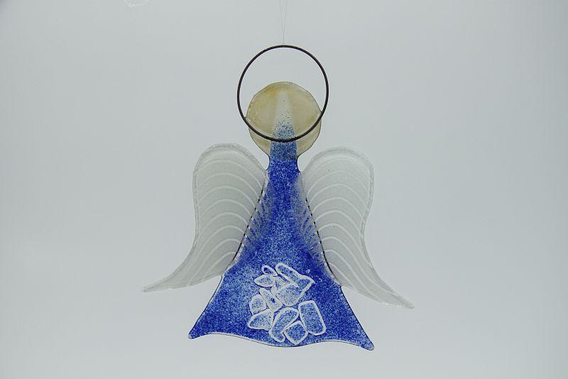 Glasengel Engel mittel Kristall blau 2