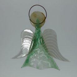 Glasengel Engel mittel Kristall grün 3