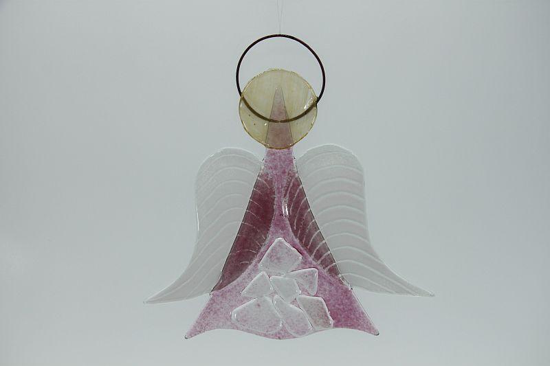Glasengel Engel mittel Kristall rosa 1