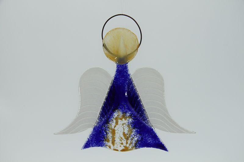 Glasengel Engel mittel dunkelblau baum 1
