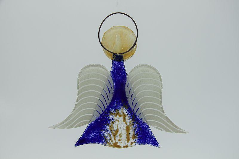 Glasengel Engel mittel dunkelblau baum 2