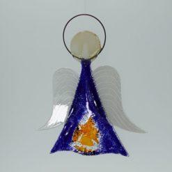 Glasengel Engel mittel dunkelblau orange 3