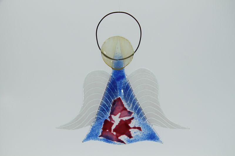 Glasengel Engel mittel dunkelblau rose 1