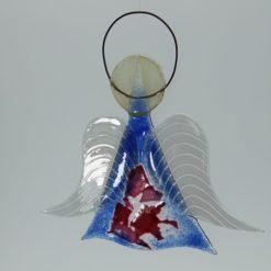 Glasengel Engel mittel dunkelblau rose 3