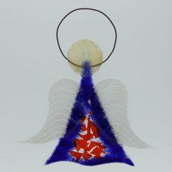 Glasengel Engel mittel dunkelblau rot 1