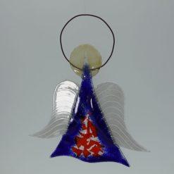 Glasengel Engel mittel dunkelblau rot 3