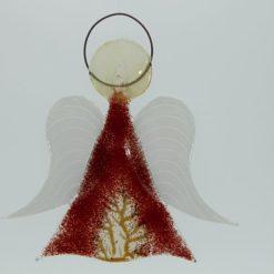 Glasengel Engel mittel dunkelrot Baum 1