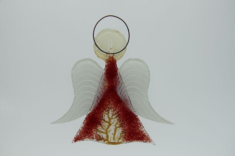 Glasengel Engel mittel dunkelrot Baum 2