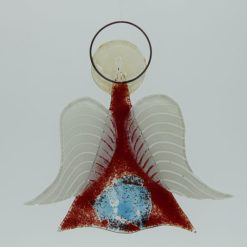 Glasengel Engel mittel dunkelrot blau 2