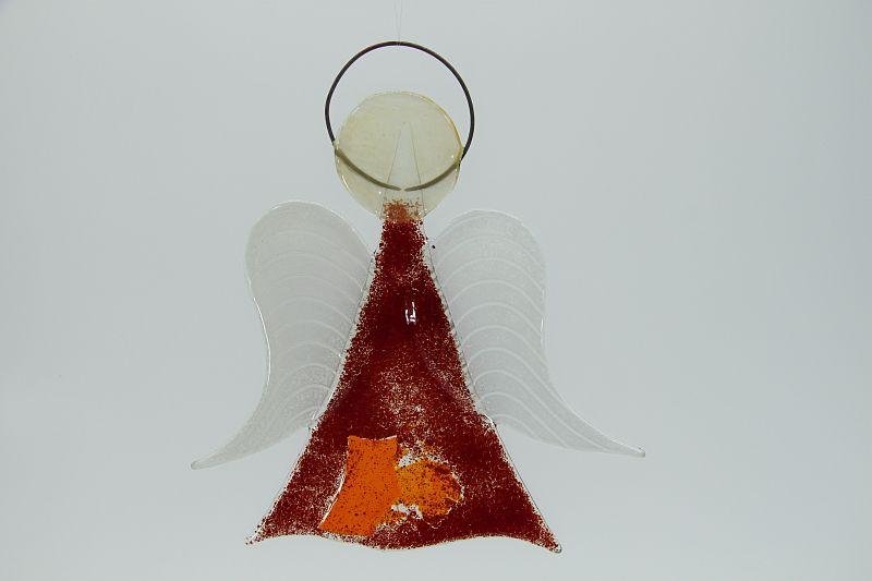 Glasengel Engel mittel dunkelrot orange 1 1