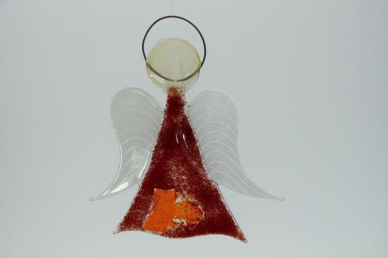 Glasengel Engel mittel dunkelrot orange 1 3