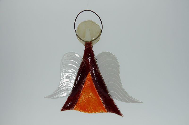 Glasengel Engel mittel dunkelrot orange 2 3