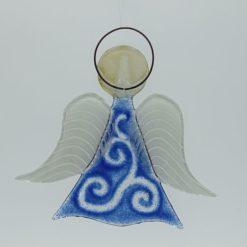 Glasengel Engel mittel hellblau barock 2
