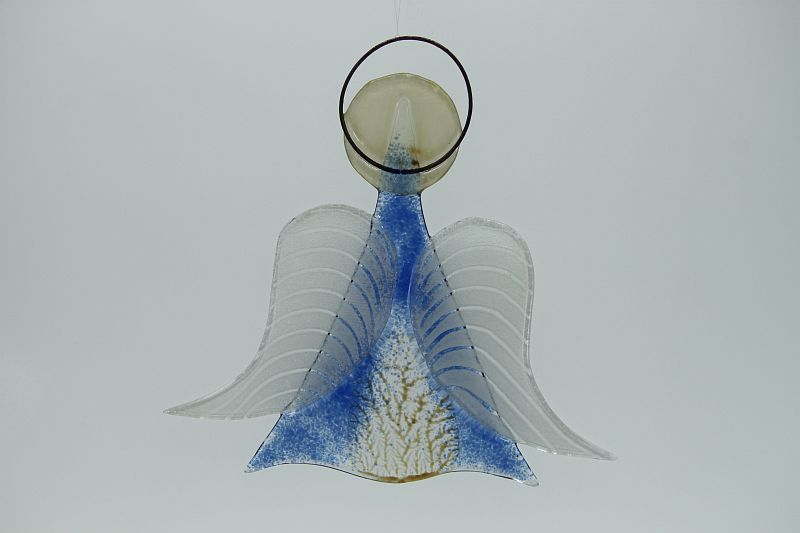 Glasengel Engel mittel hellblau baum 2