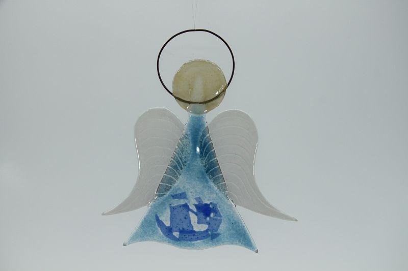 Glasengel Engel mittel hellblau blau 1