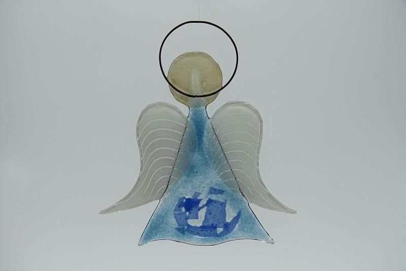 Glasengel Engel mittel hellblau blau 2
