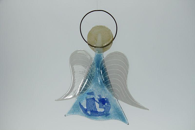 Glasengel Engel mittel hellblau blau 3