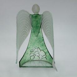 Glasengel Engel stehend Kristall grün 3