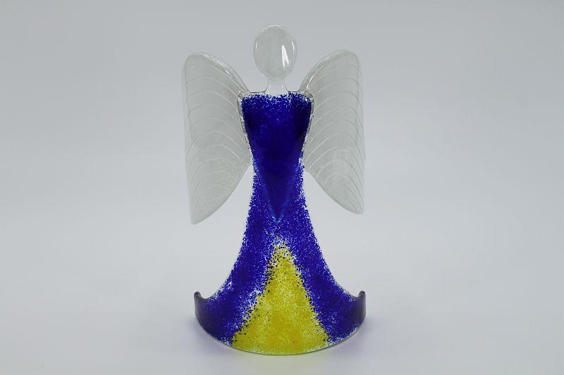 Glasengel Engel stehend dunkelblau gelb 1