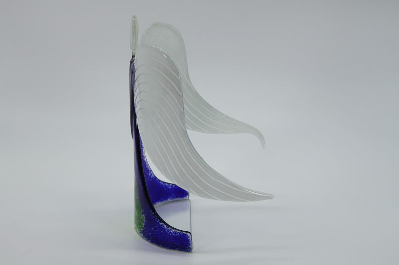 Glasengel Engel stehend dunkelblau grün 2