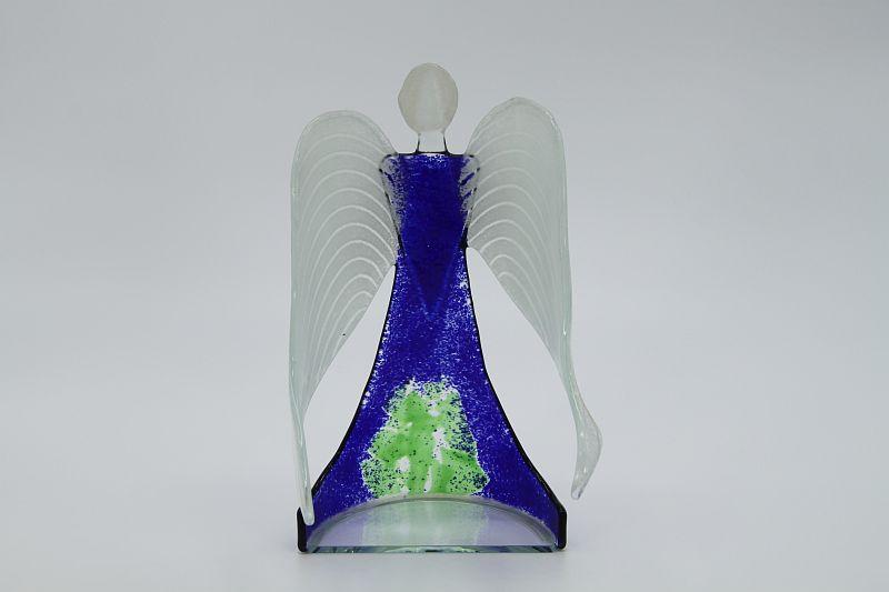 Glasengel Engel stehend dunkelblau grün 3