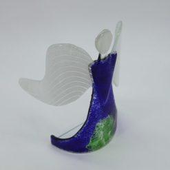 Glasengel Engel stehend dunkelblau grün 4