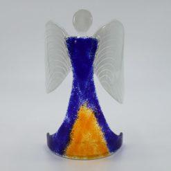 Glasengel Engel stehend dunkelblau orange 1