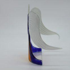Glasengel Engel stehend dunkelblau orange 2