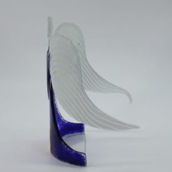 Glasengel Engel stehend dunkelblau rose 2