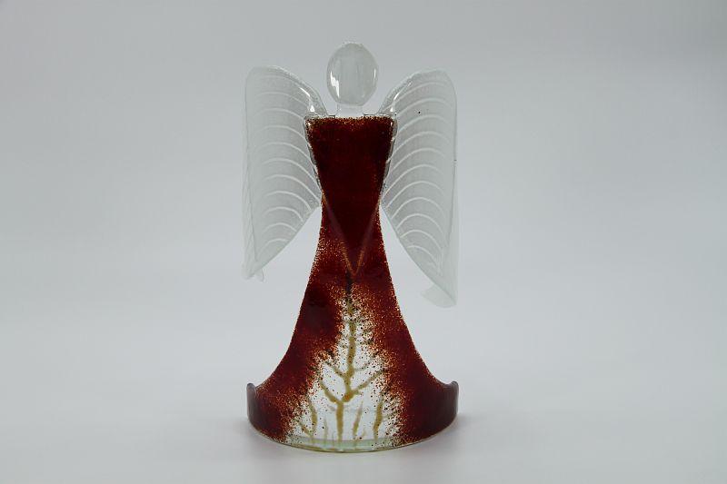 Glasengel Engel stehend dunkelrot Baum 1
