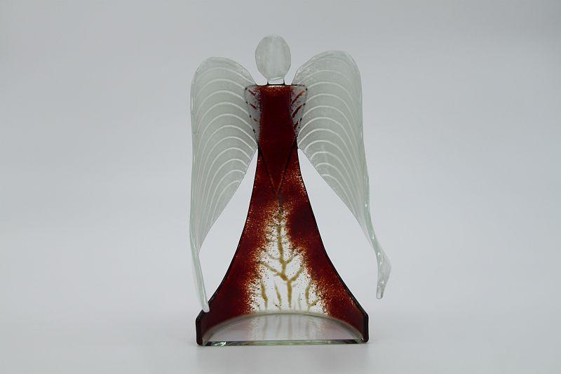Glasengel Engel stehend dunkelrot Baum 3