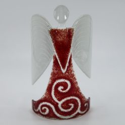 Glasengel Engel stehend dunkelrot barock 1