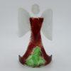 Glasengel Engel stehend dunkelrot grün 1