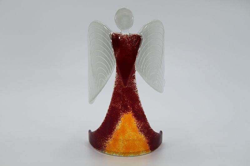 Glasengel Engel stehend dunkelrot orange 1
